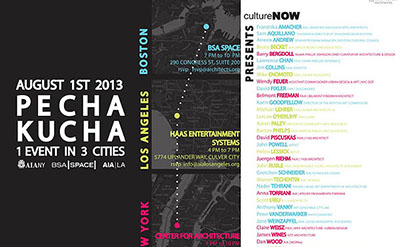 AIA/LA- Culture - Now Pecha Kucha- 1 Event in 3 cities