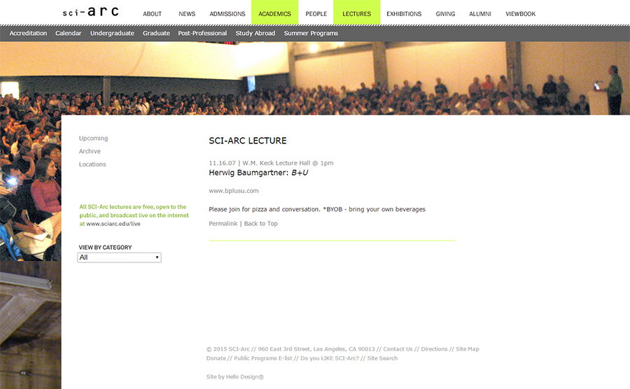 Lecture at SCI-Arc